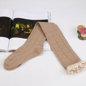 Lace Knit Patchwork Over The Knee Long Socks Tan